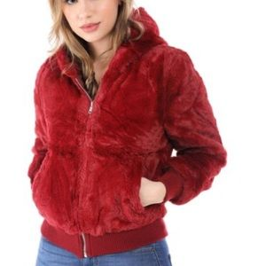 Love tree faux fur bomber jacket